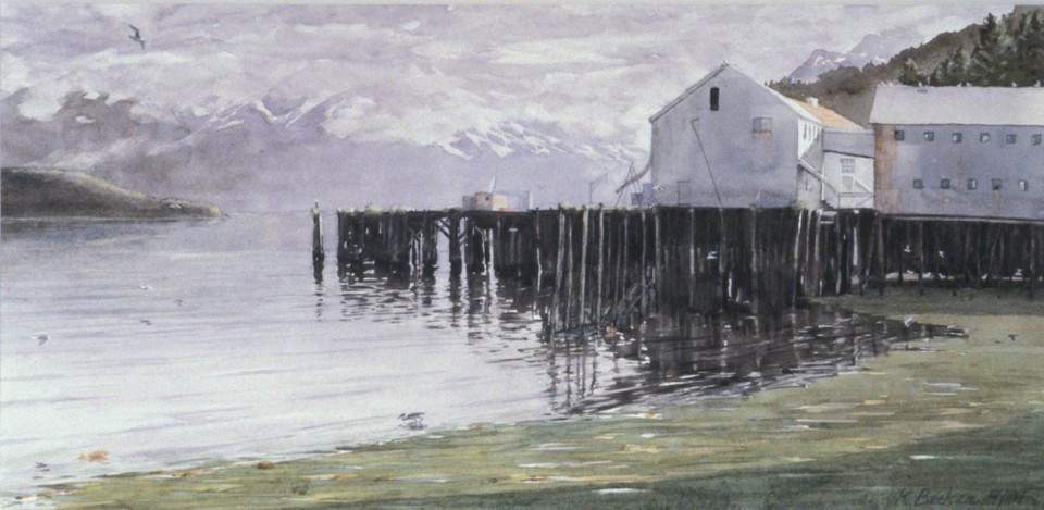 Karl Becker 7 in x 14 in watercolor Cannery Morning