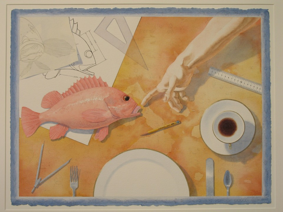 Karl Becker_Intelligent Design, The First Supper_22,5 x 30 inches_watercolor_2005