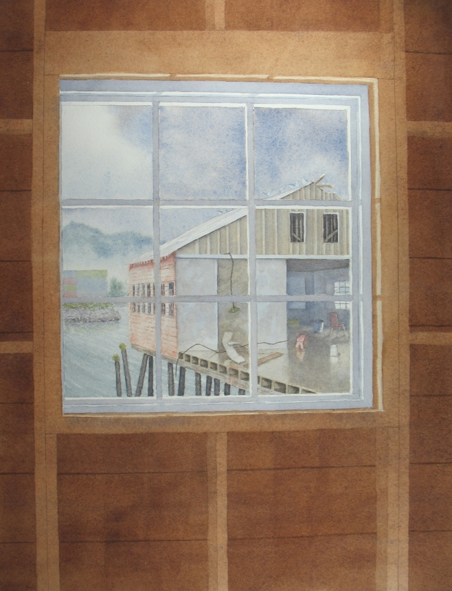 APA cannery wing through a window