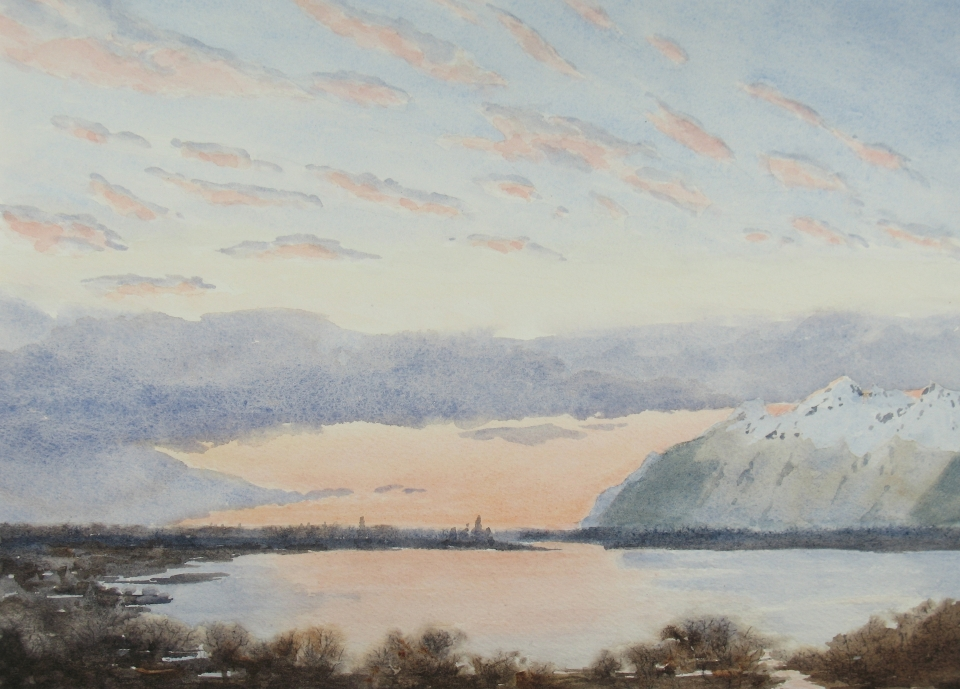 Copper River Delta: Sunset and mountains