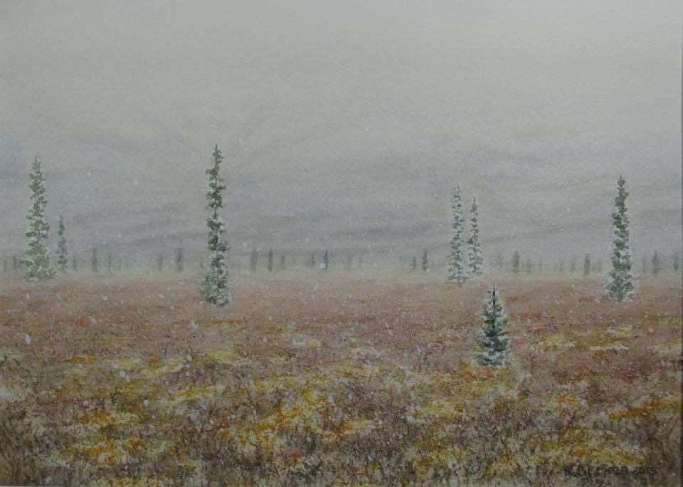 Denali: Early snow - 8.25 x 11.25 - $300