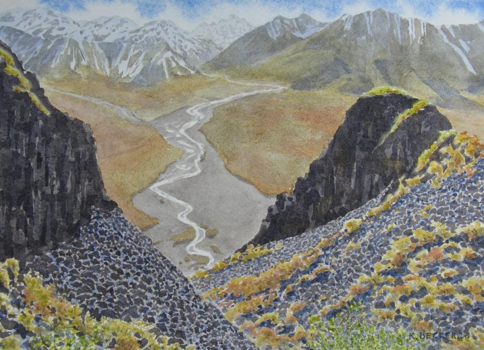 Denali: River meanders - 8.25 x 11.25 - $300