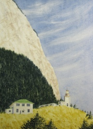 """Cape St. Elias: Cliff and green roof - 11.25"""" x 8"""" - $325"""