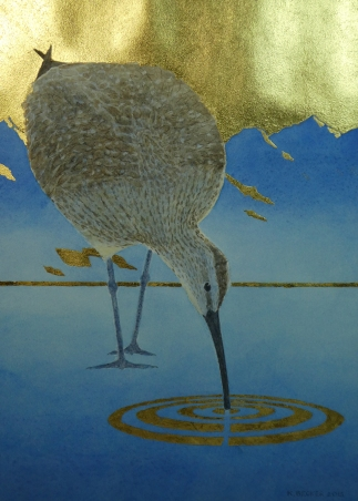 "Whimbrel in Gold - 11.25"" x 8"" - $325"